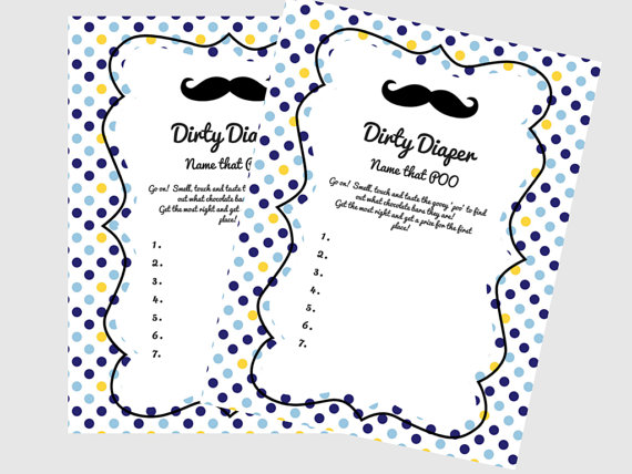 Mustache Dirty Diaper Baby Shower Game, Little Man Baby Shower Game, Name  That Poo