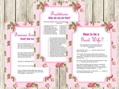 famous quotes from movies Bridal Shower games, 1950's how to be a good wife, why do we do that, Bridal Shower activity,