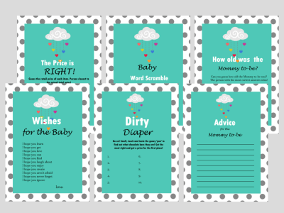 Rain, Cloud, Rainbow, Showered with love, Baby Shower Game Set, Modern Baby Shower, Baby Shower Game Prize, Unique Baby Shower Games, swl1