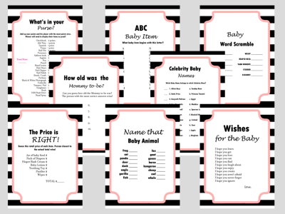 COCO Chanel Inspired Baby Shower Games, Modern Black & White Stripes Baby Shower Games, Wishes for baby cards, name that baby animal, how old was the mommy to be, celebrity baby names, price is right, scramble, ABC baby item, what's in your purse