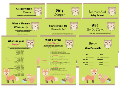 Baby Shower Games Package, Woodland Theme Games, Modern Baby Shower, Baby Shower Game Prize, Unique Baby Shower Games, Modern,