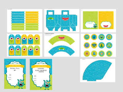 Little Monster Baby Shower Printables, Monster Birthday Party, Monster Party, Download, Monster Labels, Toppers, Monster Party Invitations