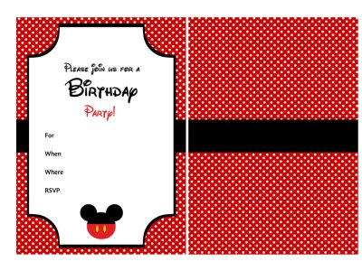 Fill in Mickey Mouse Invitation, Disney Mickey Mouse Invitation, Birthday Invitation, Red Black Yellow, instant download, Silhouette