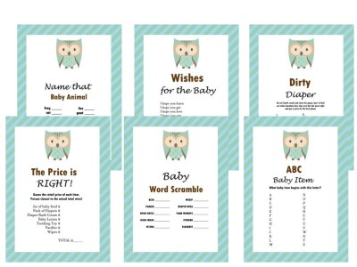 Owl Baby Shower Games Set, Hoot Baby Shower Games, Modern Baby Shower, Baby Shower Game Prize, Unique Baby Shower Games, Modern