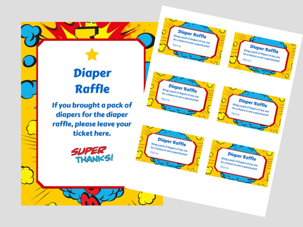 Superhero Diaper Raffle - Magical Printable
