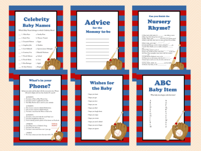 Navy Red Baseball Baby Shower Game Printables, All Stars, baseball theme, Sports Baby Shower Games, Printable Baseball Games TLC08