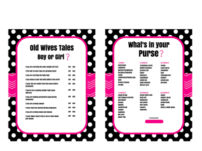 The Old Wives Tale Gender Reveal Baby Shower Game, Baby Gender Guess, Gender Reveal Games, What's in your purse baby shower game