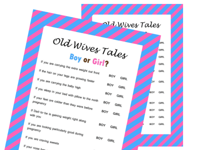 The Old Wives Tale Gender Reveal Baby Shower Game, Baby Gender Guess, Gender Reveal Games, Gender Trivia Game, Printable Baby Shower Game