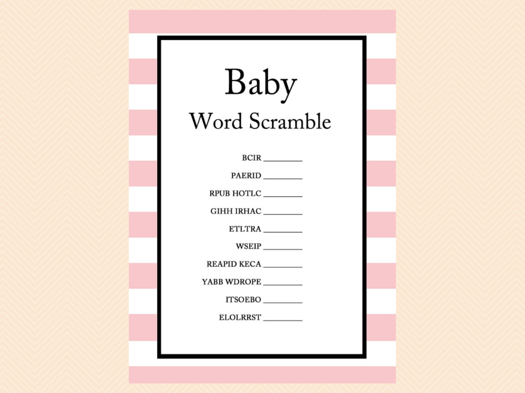 Captivating ... Pink Baby Shower Games Printable ...