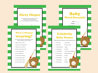 Baseball Baby Shower Games, Printable Baseball Theme Baby Shower Game Printables, All Stars, baseball theme, Sports Baby Shower Games TLC07