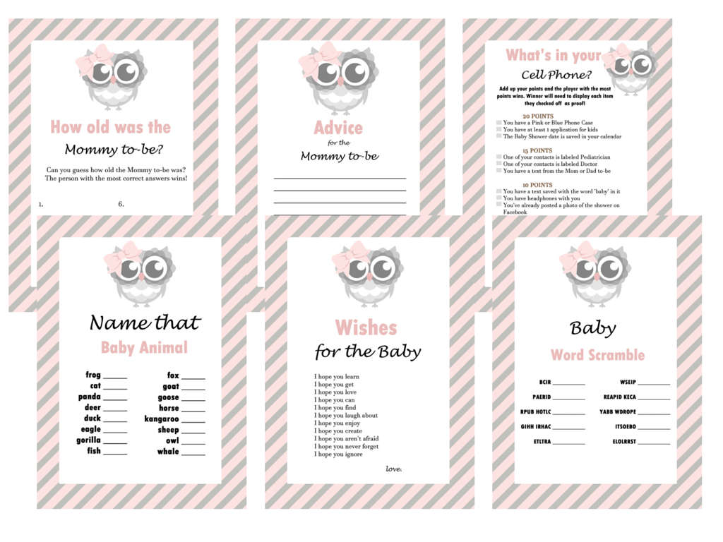 baby shower game set baby shower activities pink hoot baby shower game