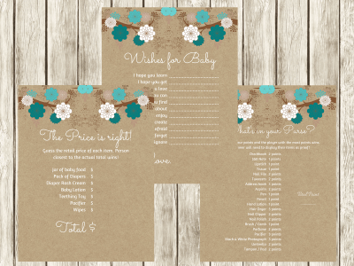 Teal Floral baby shower games, baby Price is right, What's in your purse, fun baby shower game, printable, baby advice, wishes for baby