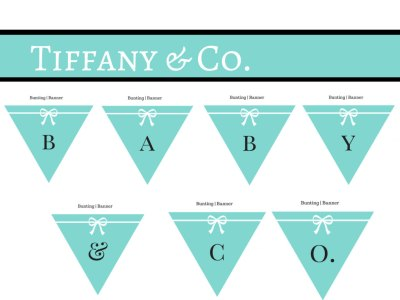 Tiffany Party Decoration, Tiffany Baby Shower, baby and co., It's a girl., Tiffany and Co Bunting, Banner, Tiffany Blue Banner