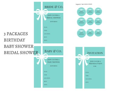 Tiffany Party Package, Tiffany Party, Tiffany Printables, Tiffany and Co, Tiffany Blue, Tiffany Digital Papers, bridal shower, baby