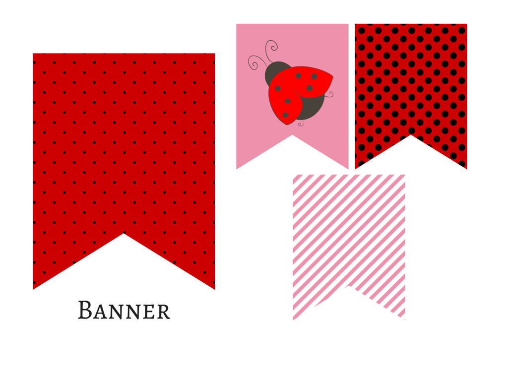 Red Pink Ladybug Banner