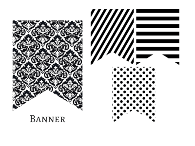 printable, Modern Black and White Banner, Black White Polka Dots, Black White Stripes, Garland, Baby Shower Banner, Bridal Shower, Wedding banner