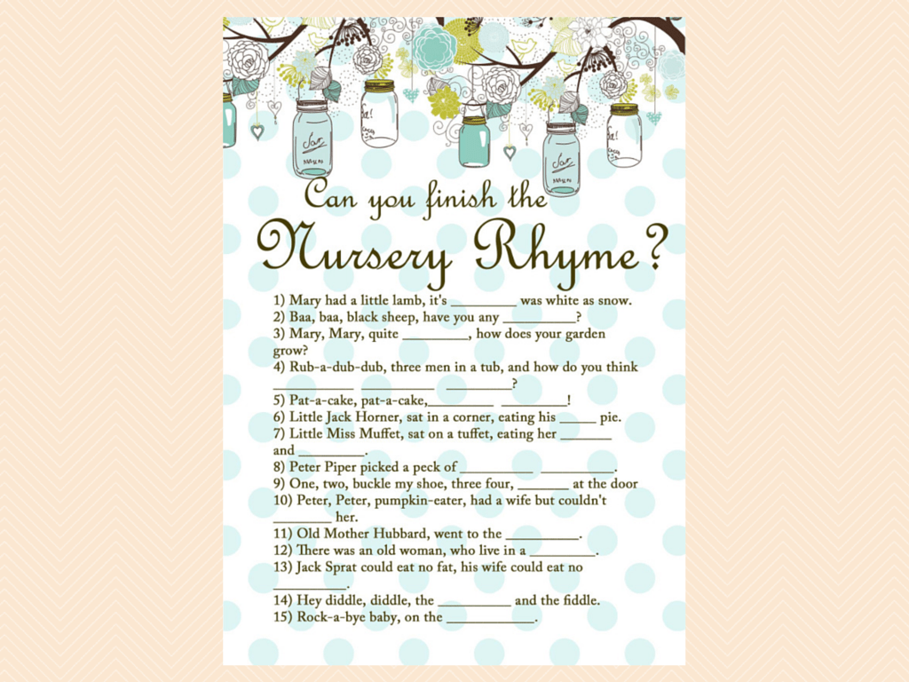 finish the nursery rhyme mason jars baby shower games printables neutral baby shower
