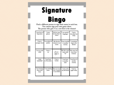 Bingo, Birthday bingo, Unique Bingo, Signature bingo, Birthday Party Game, Birthday Games, Baby shower Games, Bridal Shower Games PT01