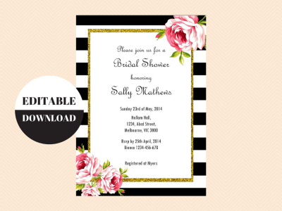 Editable birthday invitations birthday party ideas themes editable editable baby shower invitations editable bridal shower invitations editable birthday invitation black and stopboris Image collections
