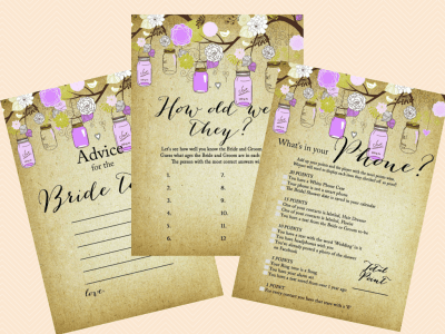 Editable Bridal Shower Invitations, Editable Baby Shower, Purple Mason Jars Editable Invitations, Rustic, Mason Jars, Chic BS49 (3)