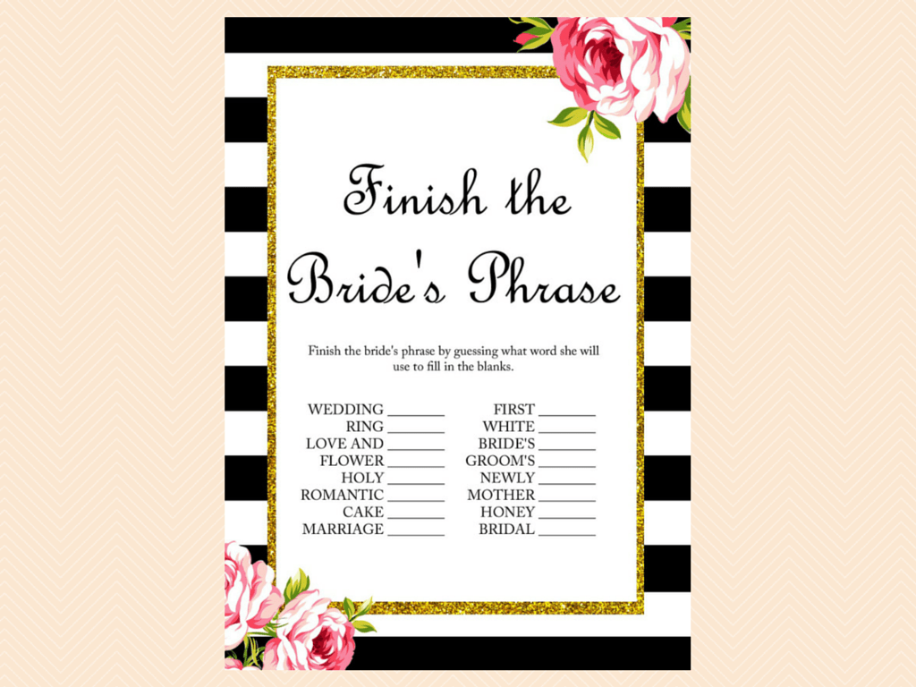 Black And White Floral Bridal Shower Games Magical Printable