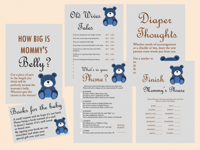 Teddy Bear Baby Shower Games Printables, Baby Boy TLC33