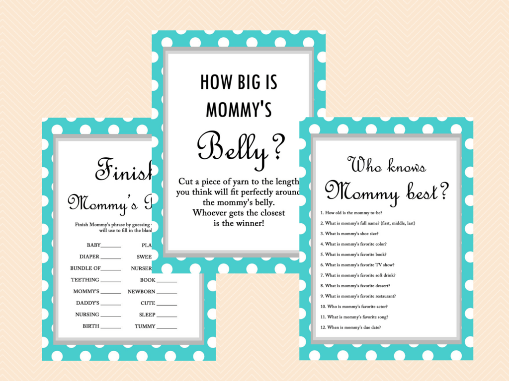 Turquoise Polka Dots Baby Shower Game, Who Knows Mom Best, Who Knows Mommy  Best
