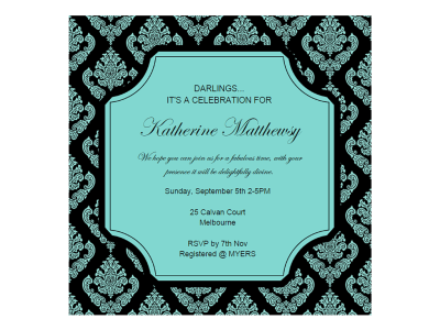 editable tiffany baby shower, bridal shower, birthday invitation, breakfast at tiffanys damask