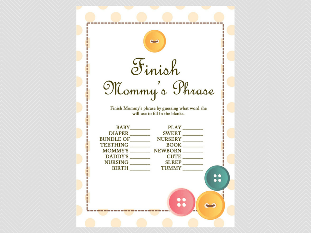 finish the phrase cute as a button baby shower them games