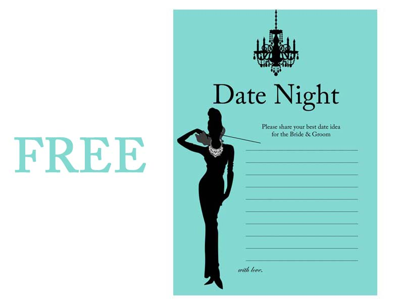 FREE Breakfast at Tiffanys Date Night Card Magical Printable