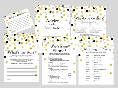 gold silver black confetti bridal shower game printable pack, modern bridal shower games