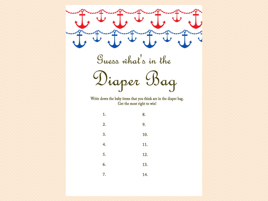 ... Guess Whats In The Diaper Bag, Nautical, Beach Baby Shower Games  Printables, ...