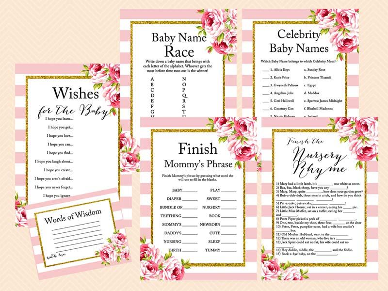 ... Pink Floral Chic Bridal Shower Games, Instant Download, Bridal Shower  Game Printables, ...