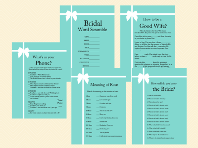 Tiffany Blue Bridal Shower Game Pack Magical Printable