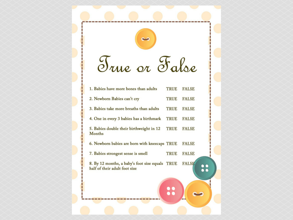 True Or False Baby Shower Trivia Questions Cute As Button Theme