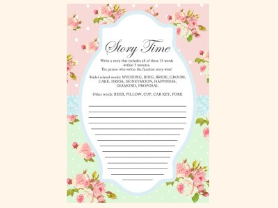 write-a-story-game-mint-pink-shabby-chic-bridal-shower-games-pack-printables-vintage-rose-antique-rose