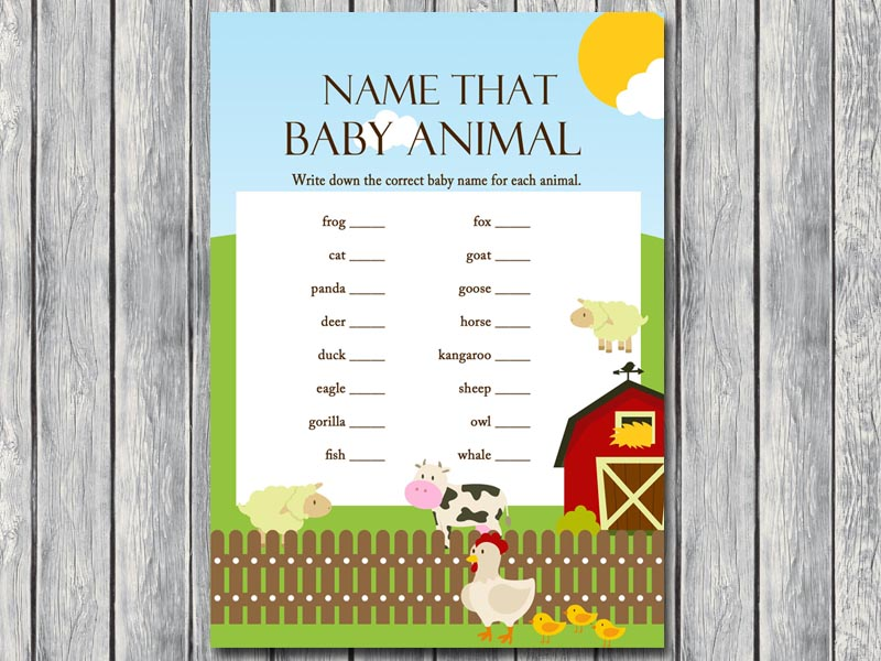 farm animals baby shower games magical printable