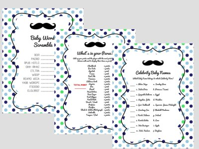 baby word scramble, what's in your purse, celebrity baby names, Mustache Baby Shower Games, little man baby shower games, printable