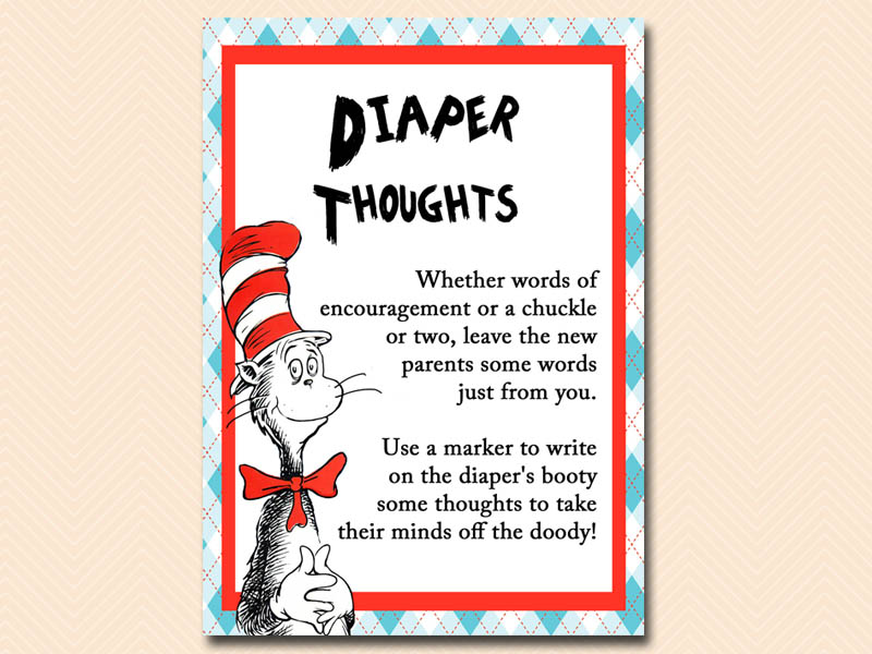 Diaper Thoughts Dr Seuss Baby Shower, Cat In The Hat Baby Shower, Thing