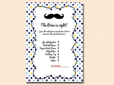 price-is-right Mustache Baby Shower Games & Acitivies