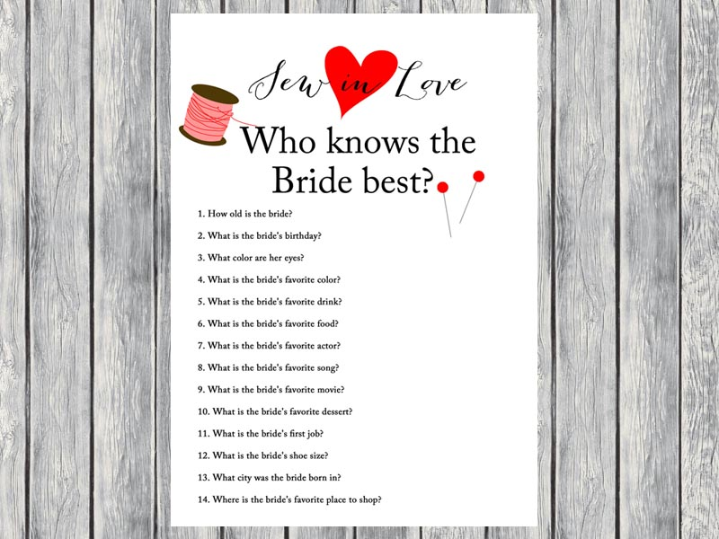 Who Knows the Bride Best Free Printable Bridal Shower Game