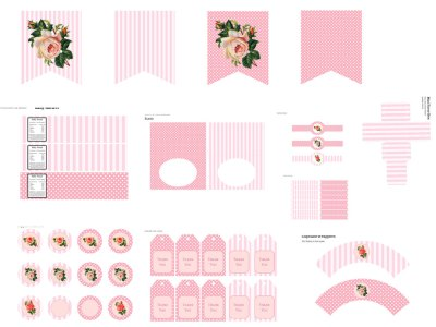 Pink Floral Printable, chic Party Package, Pink Flower printable, Birthday Party Printables, girl baby shower, Girl Birthday Party Package