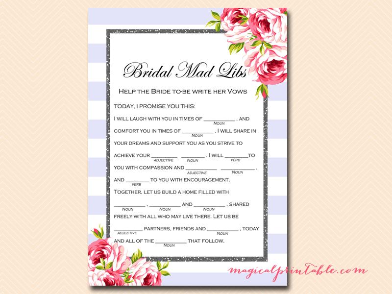 Bridal Mad Libs Wedding Vows