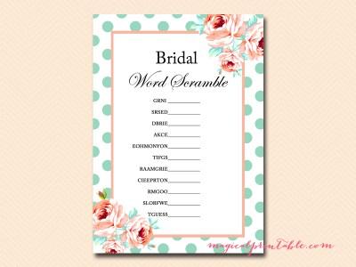 bridal shower scramble