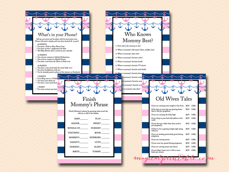 girl nautical baby shower games pink nautical baby shower game