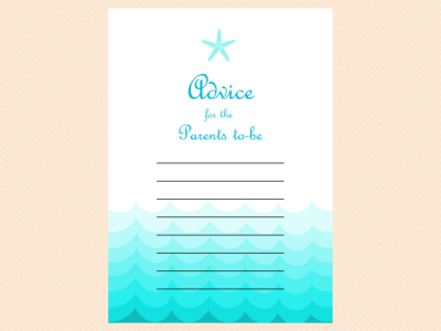 advice parents to be, Beach, Sea Waves, Nautical Baby Shower Games