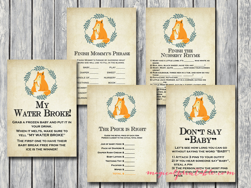 fox baby shower game printables tlc94 autumn baby shower games foxy