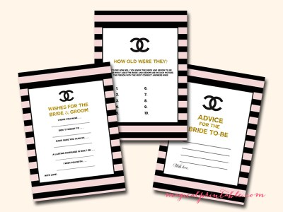 gold chanel bridal shower game printable, instant download, bs113