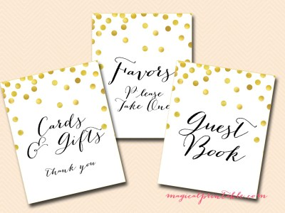 gold confetti wedding signs, gold bridal shower signages, instant download, sn22, baby shower signs, favors sign, cards and gifts