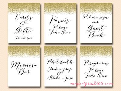 Printable Gold Glitter Wedding Signage - Bridal - Baby Shower